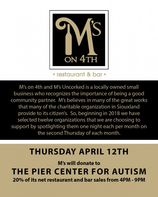 Visit M's on 4th April 12th to support The Pier Center for ...